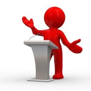 (Los discursos son un ejemplo de comunicación pública)